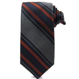 COLE HAAN Mens Repp Stripe Skinny Tie Navy Blue